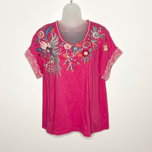 Johnny Was embroidered butterfly rolled edge tee